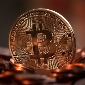 A gold bitcoin coin