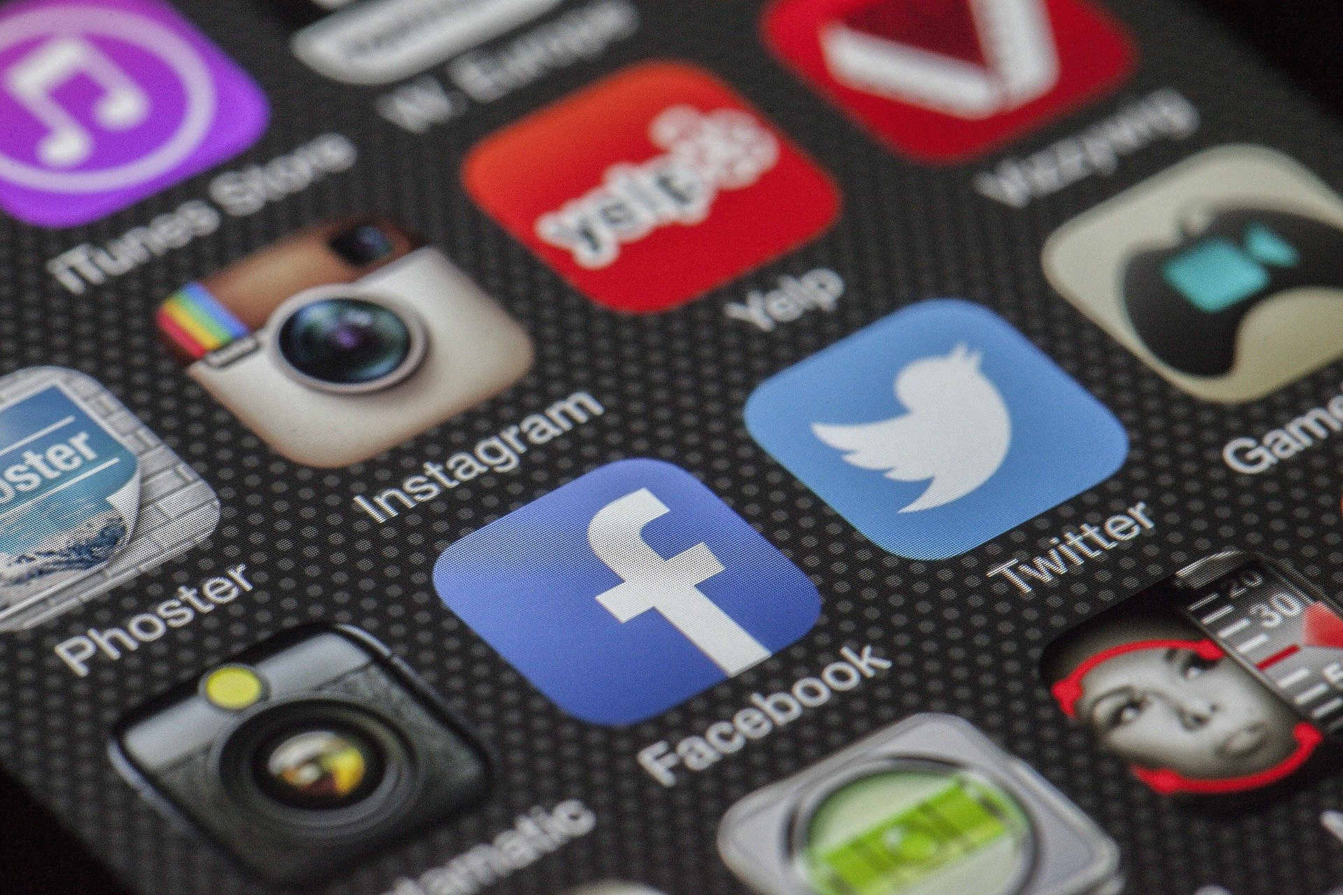 Apps on a Smartphone Screen, including Facebook, Instagram, and Twitter