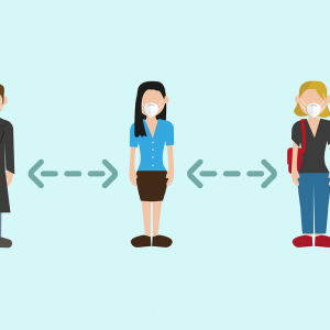 An illustration of people standing apart