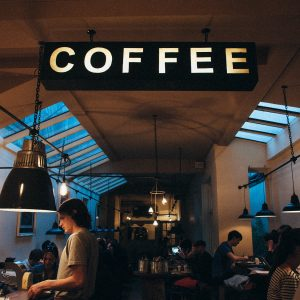 The inside of a modern coffee shop